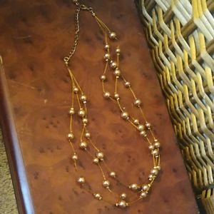 Layered gold look beads and wire